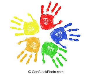 caractères, coloré, main