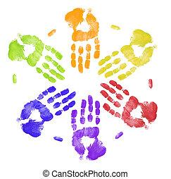 caractères, coloré, travailler ensemble, main, clair