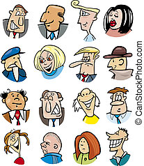 caractères, dessin animé, émotions, gens