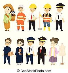 caractères, différent, dessin animé, ensemble, professions, vecteur