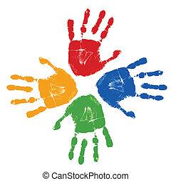 caractères, ensemble, coloré, main