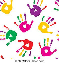 caractères, fond blanc, coloré, main