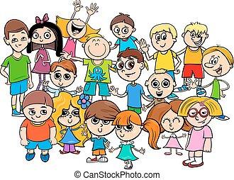 caractères, groupe, enfants, illustration, dessin animé