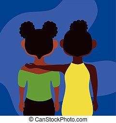 caractères, jeunes filles, afro, couple, diversité