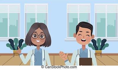 caractères, médecins, professionnels, animation, couple