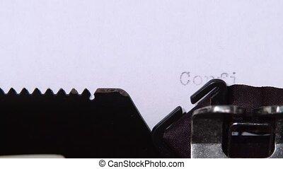 caractères, mot, confidentiel, haut, journaliste, fin, typewriter., retro