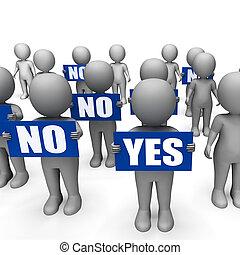 caractères, non, confusion, exposition, indécision, tenue, signes, oui, ou
