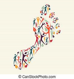 caractères pied, concept, diversité, humain