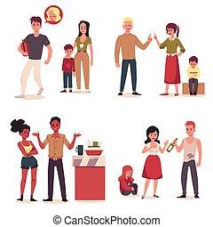 caractères, problème, illustrations., plat, ensemble, conflit, vecteur, famille, situation