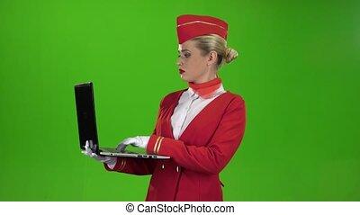 caractères, texte, écran, laptop., vert, hôtesse