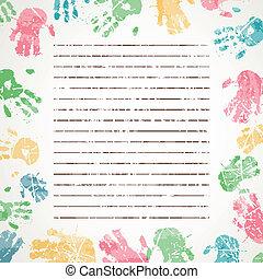 caractères, vecteur, fond, coloré, main