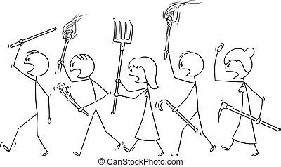 caractères, vide, vecteur, marche, fâché, crosse, armes, foule, dessin animé, parole, outils, bulle