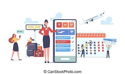 caractères, voyage, aller, réservation, mobile, billets, heureux, bagage, app, concept., avion, touristes, utilisation, passagers, téléphone.