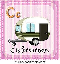 caravane, c, lettre, flashcard