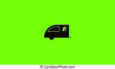 caravane, camping, icône, animation