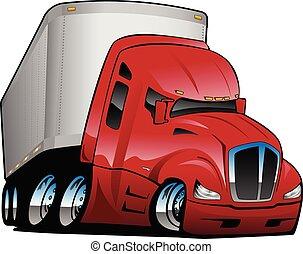 caravane, vecteur, dessin animé, camion, illustration, semi