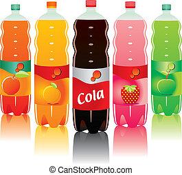 carbonaté, bouteilles, boisson