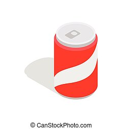 carbonaté, isométrique, boisson, style, icône, 3d