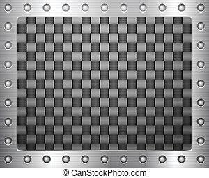 carbone, cadre, métal