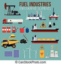 carburant, industrie, huile, éléments, infographics
