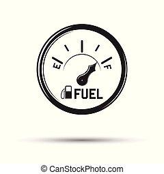 carburant, monochrome, jauge, icône