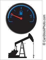 carburant, pétrole, jauge