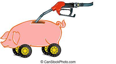 carburant, piggy-banque