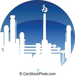 carburant, raffinerie, industrie, icône