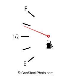 carburant, symbole, vecteur, jauge, illustration