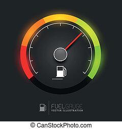 carburant, vecteur, jauge