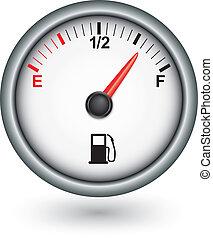 carburant, voiture, vecteur, illustration, jauge
