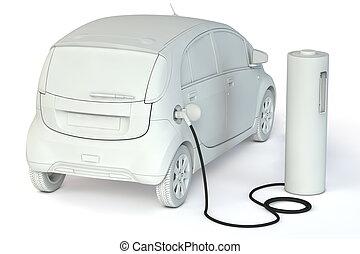 carburants, batterie, énergie, -, gris, pompe, gabarit, carburant, alternative, e-car