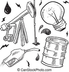 carburants, objets, croquis, fossile