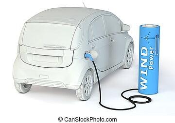carburants, puissance, batterie, -, poste de carburant, e-car, vent