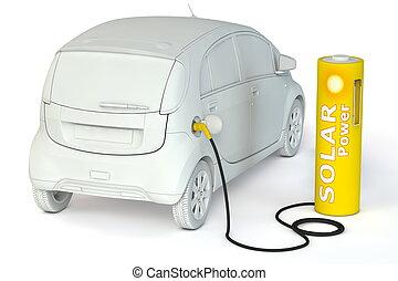 carburants, puissance, batterie, -, poste de carburant, solaire, e-car