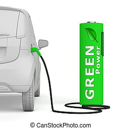 carburants, puissance, batterie, -, poste de carburant, vert, e-car