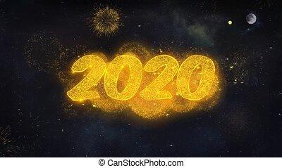 card., année, particules, nouveau, texte, révéler, voeux, 2020, feud'artifice, salutation