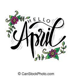 card., avril, main, bonjour, lettrage, salutation