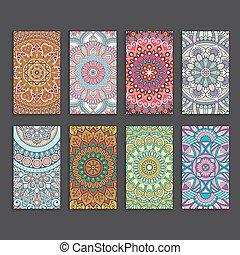 card., business, décoratif, vendange, elements.