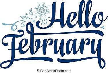 card., decor., vacances, février, bonjour, lettrage