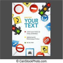 card., signe, vecteur, aviateur, affiches, bannière, route