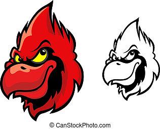 cardinal, oiseau, rouges