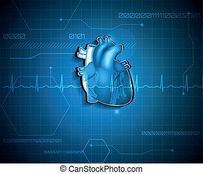 cardiologie, monde médical, résumé, arrière-plan., technologie, concept.
