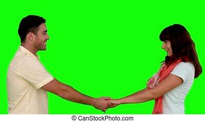 caresser, couple, vert, scre, jeune