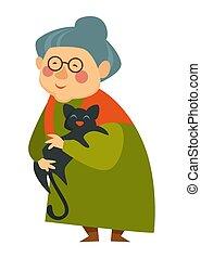 caresser, retraité, femme, vieux, chouchou, chat, dame, heureux