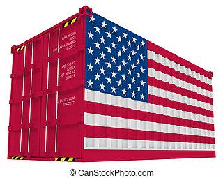 cargaison, américain, récipient