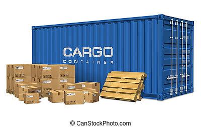 cargaison, boîtes, carton, récipient