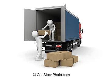 cargaison, business, -, collection, chargeurs, boîtes