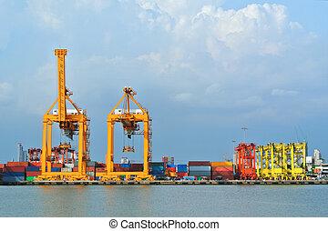 cargaison, chantier naval, logistique