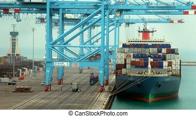 cargaison, chargement, défaillance, cargaisons, ship., temps